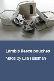 Lamb's fleece pouches made by Ella Huisman